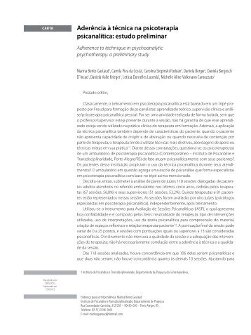 Aderência à técnica na psicoterapia psicanalítica: estudo ... - SciELO