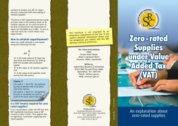 Zero rated Supplies under Value Added Tax - Seychelles Revenue ...