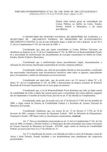 Portaria Interministerial Nº 163 - Tesouro Nacional - Ministério da ...