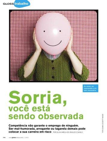 Sorria, você está sendo observada Revista Gloss Novembro ... - OPEE
