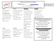 Meadows Spa Fitness for Women Schedule 2012