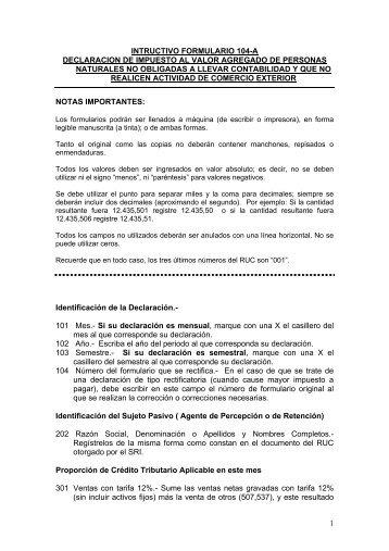 intructivo formulario 104-a declaracion de impuesto al valor ...