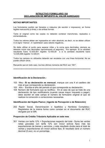 INTRUCTIVO FORMULARIO 104 DECLARACION DE IMPUESTO ...