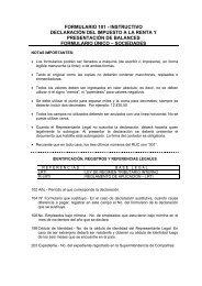 FORMULARIO 101 - INSTRUCTIVO - Servicio de Rentas Internas