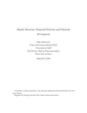 Market Structure, Financial Structure and Financial Development