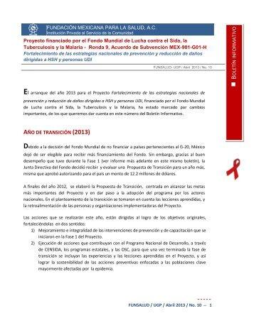 Boletin Informativo / FUNSALUD -UGP / Abril 2013 / No. 10 - Proyecto