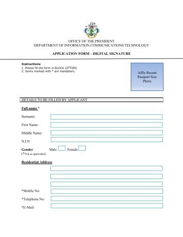 Digital Signature Application Form