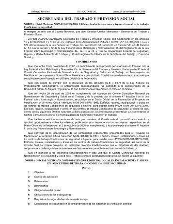 NOM-001-STPS-2008 - Normas Oficiales Mexicanas de Seguridad y ...