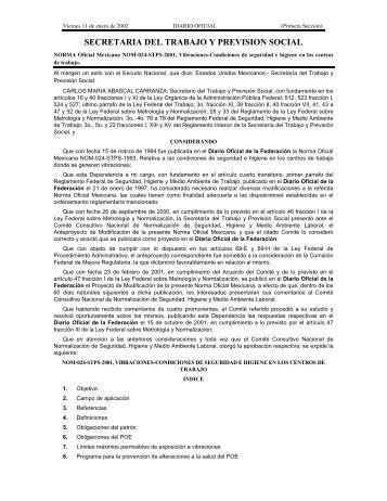 NOM-024-STPS-2001 - Normas Oficiales Mexicanas de Seguridad y ...