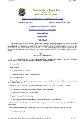 Constituição da República Federativa do Brasil - Feambra