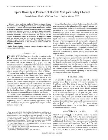 Space diversity in presence of discrete multipath ... - IEEE Xplore