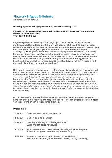 Uitnodiging Symposium Erfgoedontwikkeling 2.0.pdf - Netwerk ...
