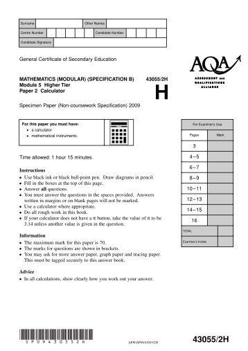 Aqa june 2003 intermediate paper 1
