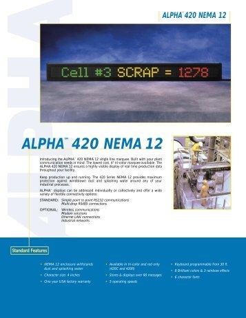 Alpha 420 Nema 12 Product Brochure (PDF file ... - Tek Solutions