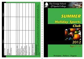 SUMMER Holiday Sports Club - The Grange School Blogs