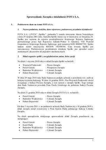 Sprawozdanie zarządu z działalności Fota S.A.