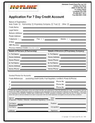 Application For Credit Account - Auto Parts Group