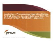 Applications, Processing and Integration Options for High Dielectric ...