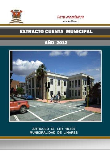 Extracto Cuenta Pública 2012 - Municipalidad de Linares
