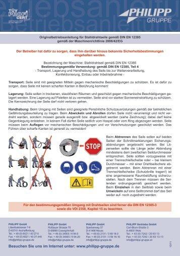 Betriebsanleitung für Stahldrahtseile gemäß DIN EN - PHILIPP Gruppe
