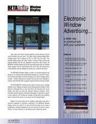 BETAbrite Window Display Specifications - Tek Solutions