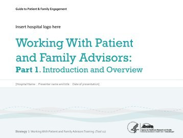 Strategy 1: Working with Patients & Families as Advisors (Tool 11)