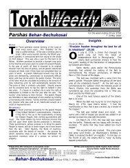 Torah Weekly - Ohr Somayach