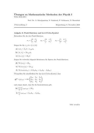 ¨Ubungen zu Mathematische Methoden der Physik I - Theoretische ...