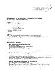 Protokoll der 11. ordentlichen Mitgliederversammlung