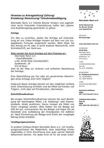 Hinweise zur Antragsbearbeitung für Antragsteller (pdf)