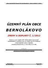 územný plán obce bernolákovo zmeny a doplnky č. 1/2012