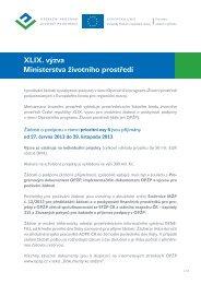text výzvy - Operační program Životní prostředí