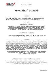 PROHLÁŠENÍ O SHODĚ Klimatizační jednotky TANGO 4 ... - ALTEKO
