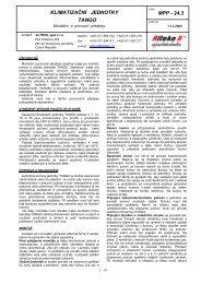 KLIMATIZAČNÍ JEDNOTKY TANGO MPP - 24.3 - ALTEKO