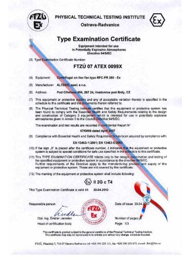 Type Examination Certificate - ALTEKO