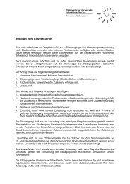Infoblatt zum Losverfahren - Pädagogische Hochschule ...