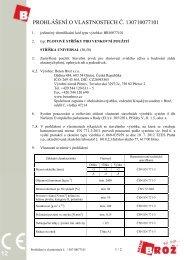 PROHLÁŠENÍ O VLASTNOSTECH Č. 130710077101 - Beton Brož