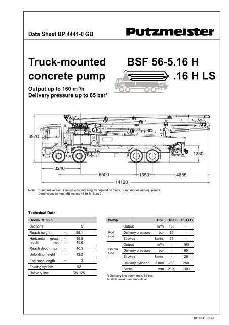 Truck-mounted BSF 56-5 16 H concrete pump  16 H LS - Putzmeister