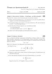 ¨Ubungen zur Quantenmechanik II - Theoretische Physik 1