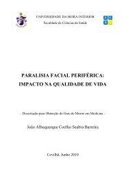 paralisia facial periférica: impacto na qualidade de vida - Ubi Thesis