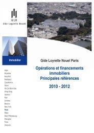 Opérations et financements immobiliers Principales références