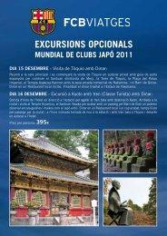 EXCURSIONS OPCIONALS - FC Barcelona