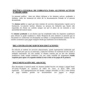 política general de cobranza para alumnos activos y graduados del ...