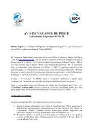 avis de vacance de poste - Fondation Internationale du Banc d'Arguin