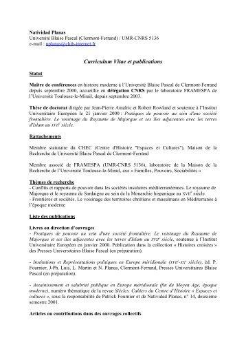 Curriculum Vitae et publications - framespa