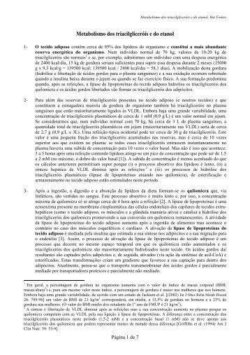 Metabolismo dos triacilgliceróis e do etanol - FMUP
