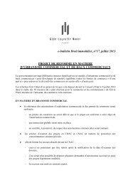 e-bulletin Droit immobilier, n°17, juillet 2013 PROJET DE REFORME ...
