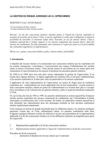 LA GESTION DU RISQUE JURIDIQUE LIE A L'APRES ... - gisos