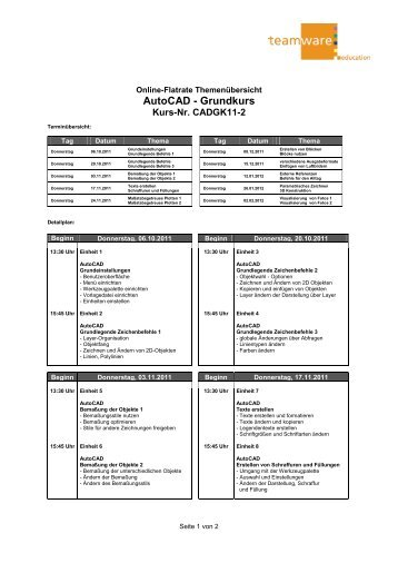 Themenplan AutoCAD Grundkurs