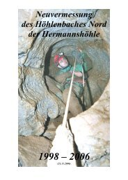 Neuvermessung des Höhlenbaches Nord der Hermannshöhle 1998